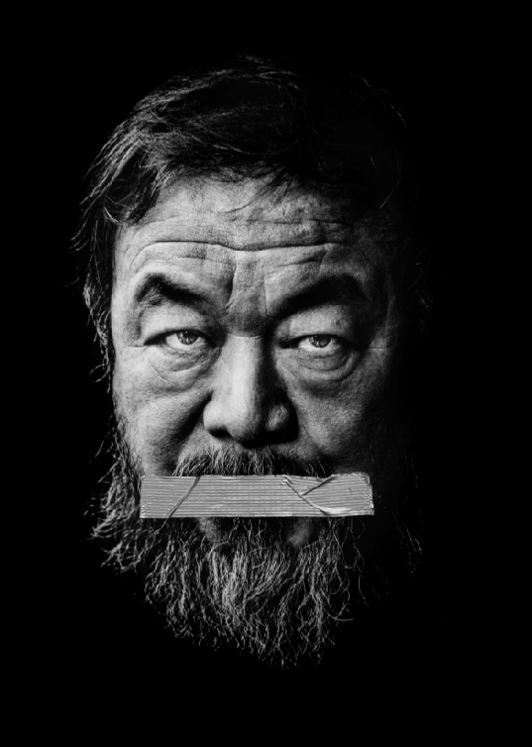 "© Johan Bergmark Titel: Ai Weiwei  Bildmått: 30x40 cm  Teknik: ""Mixed media"" (fine art print + gaffatejp. Montering: Träram med distans 30x40 cm. Upplaga 19. Signerad: Ja. Pris: SEK 10 000"